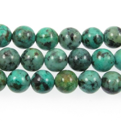 10mm Round African Turquoise Stone Bead - Blue Green with Spots | Natural Semiprecious Jasper Gemstone