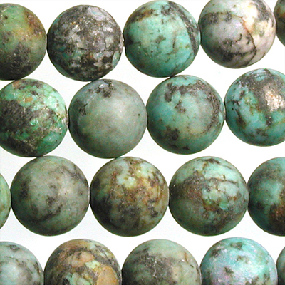 10mm Round African Turquoise Matte Stone Bead - Blue Green with Spots | Natural Semiprecious Jasper Gemstone