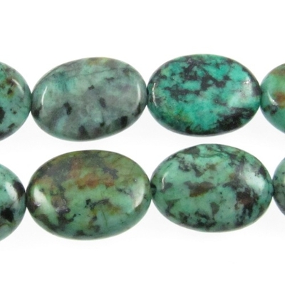 10 x 14mm Oval African Turquoise Stone Bead - Blue Green with Spots | Natural Semiprecious Jasper Gemstone