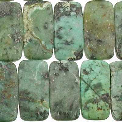 10 x 20mm Double Drill African Turquoise Matte Stone Bead - Blue Green with Spots | Natural Semiprecious Jasper Gemstone