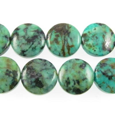 12mm Coin African Turquoise Stone Bead - Blue Green with Spots | Natural Semiprecious Jasper Gemstone