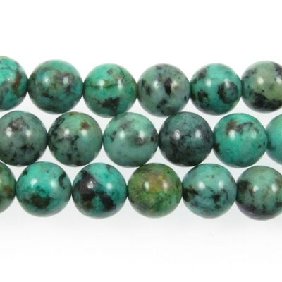 4mm Round African Turquoise Stone Bead - Blue Green with Spots | Natural Semiprecious Jasper Gemstone