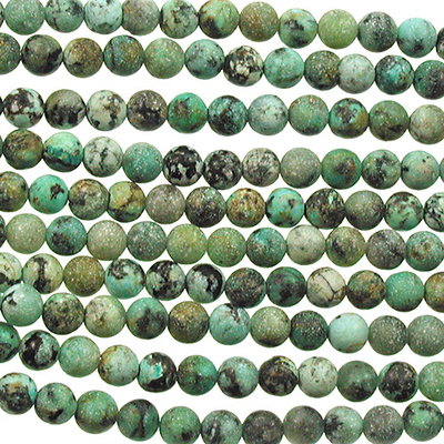 4mm Round African Turquoise Matte Stone Bead - Blue Green with Spots | Natural Semiprecious Jasper Gemstone