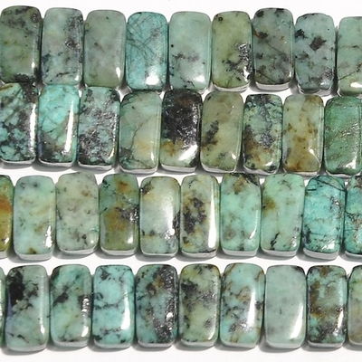 African Turquoise 5 x 10mm double drill rectangle blue green with spots   Gemstone Beads