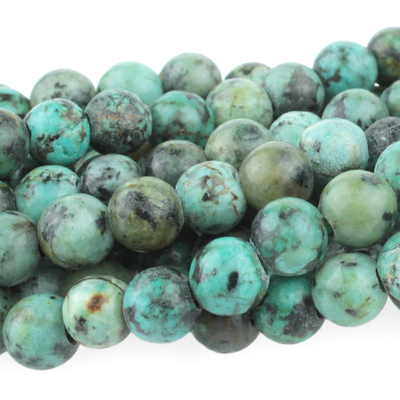 Large hole African Turquoise 8mm round blue green with spots   Gemstone Beads
