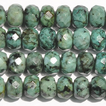 8mm Faceted Rondell African Turquoise Stone Bead - Blue Green with Spots | Natural Semiprecious Jasper Gemstone