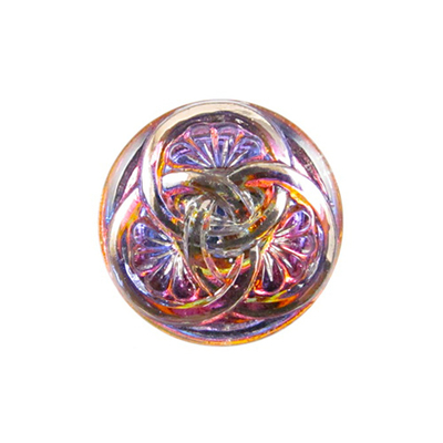 23mm Czech Glass Button with 3 Intertwining Circles - Purple, Pink and Orange | Hand-pressed Vintage Style Button with Glass Shank