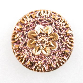 37mm Czech Glass Button - Pink Coppery Gold Metallic Mandala with Flower | Hand-pressed Vintage Style Button with Glass Shank
