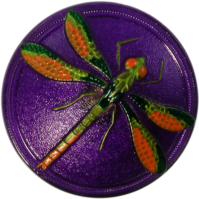 40mm Purple and Green Czech Glass Button with Orange Handpainted Dragonfly and a Metal Shank
