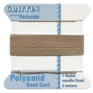 Size 4 Beige Griffin Nylon Bead Cord with Needle Attached - 2 Meters | Bead Stringing Materials