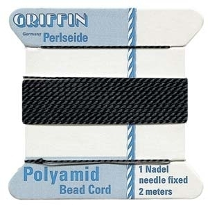 Size 4 Black Griffin Nylon Bead Cord with Needle Attached - 2 Meters | Bead Stringing Materials