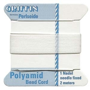 Size 4 White Griffin Nylon Bead Cord with Needle Attached - 2 Meters   Bead Stringing Materials