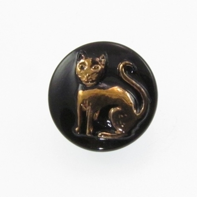 13mm Black Czech Glass Button with Bronze Hand-painted  Cat | Hand-pressed Vintage Style Button with Glass Shank