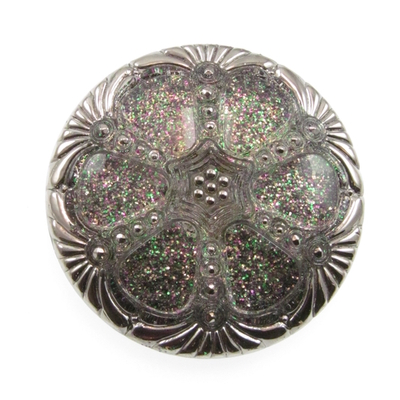 Czech Glass Buttons clear with multicolor glitter round with elegant deco design and metal shank 42mm | Czech Glass Buttons