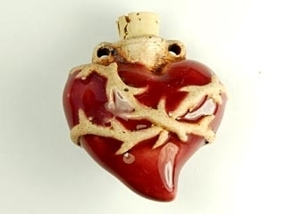 38 x 37mm Sacred Heart Handmade Clay Bottle - Natural and Red | Clay Vessel Pendant for Essential Oil or Fragrance