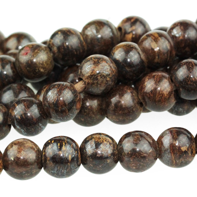 Large hole Bronzite 8mm round bronze | Gemstone Beads
