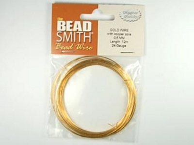 24 Gauge Round German Gold Metal Wire - Half Hard with Copper Core | Metal Wire for Wire-twisting and Wire-wrapping Jewelry and Crafts