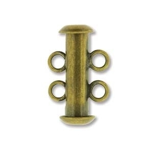 16mm 2 Strand Slider Clasp - Antique Brass Plate Finish | Base Metal Jewelry Clasps | Findings