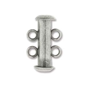 16mm 2 Strand Slider Clasp - Antique Silver Plate Finish | Base Metal Jewelry Clasps | Findings