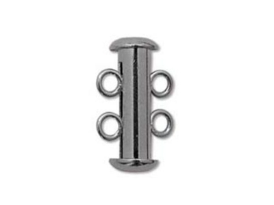 16mm 2 Strand Slider Clasp - Gunmetal Finish - 12 Pack | Base Metal Jewelry Clasps | Findings