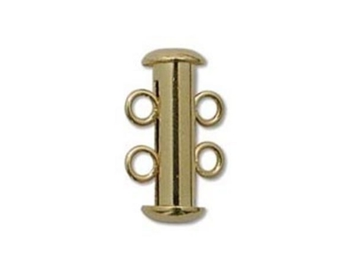 16mm 2 Strand Slider Clasp - Gold Finish - 12 Pack | Base Metal Jewelry Clasps | Findings