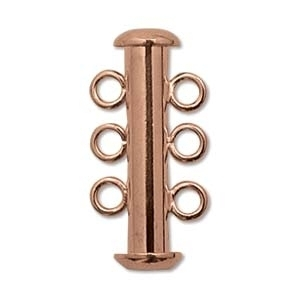 21mm 3 Strand Slider Clasp - Copper Plate Finish   Base Metal Jewelry Clasps   Findings