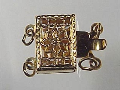 7x11mm Filigree Rectangle 2 Strand Clasp - 14k Goldfill | Metal Jewelry Clasps | Findings