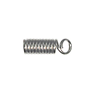 Spring Coil with Loop Cord End - Nickel Plate Finish with 3/32 Inch Opening - 12 Pack | Base Metal Findings for Making Jewelry