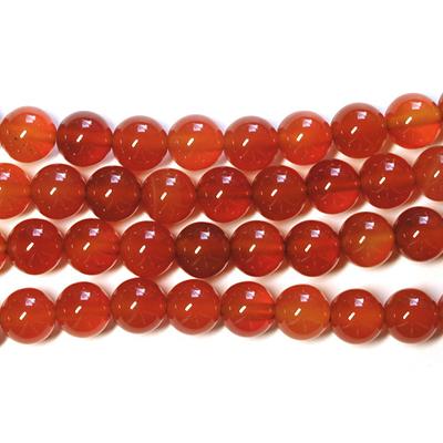 6mm Round Carnelian Agate Stone Bead - Deep Orange | Natural Semiprecious Gemstone