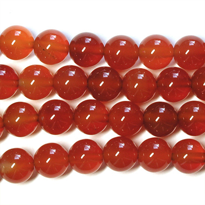 8mm Round Carnelian Agate Stone Bead - Deep Orange | Natural Semiprecious Gemstone
