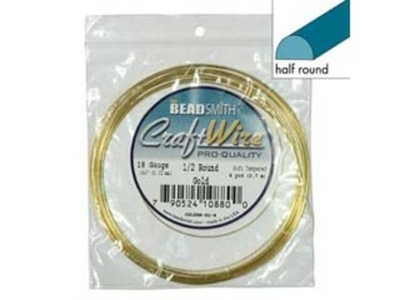 18 Gauge Half Round Gold Metal Craft Wire | Metal Wire for Wire-twisting and Wire-wrapping Jewelry and Crafts