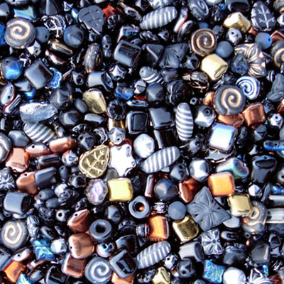 Black Czech Pressed Glass Bead Mix - Assorted Sizes, Shapes and Colors