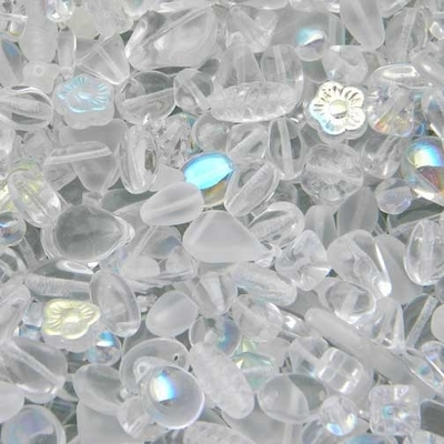 Crystal Clear Czech Pressed Glass Bead Mix - Assorted Sizes, Shapes and Colors