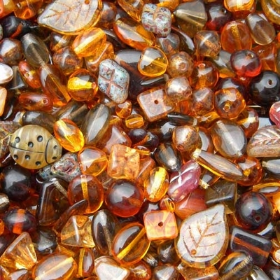 Dark Brown Czech Pressed Glass Bead Mix - Assorted Sizes, Shapes and Colors