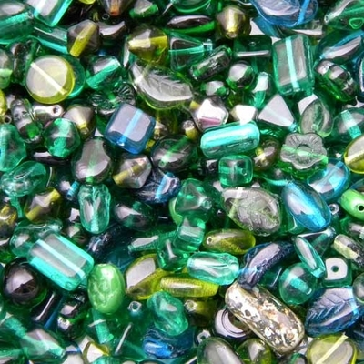 Dark Green Czech Pressed Glass Bead Mix - Assorted Sizes, Shapes and Colors