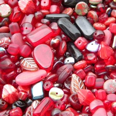 Dark Red Czech Pressed Glass Bead Mix - Assorted Sizes, Shapes and Colors