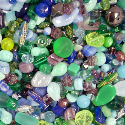 Lagoon Czech Pressed Glass Bead Mix - Blue, Green, Yellow and Purple - Assorted Sizes, Shapes and Colors