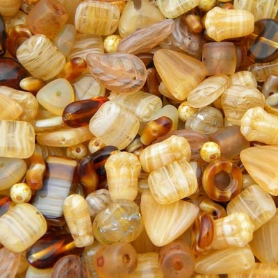 Light Brown Czech Pressed Glass Bead Mix - Assorted Sizes, Shapes and Colors