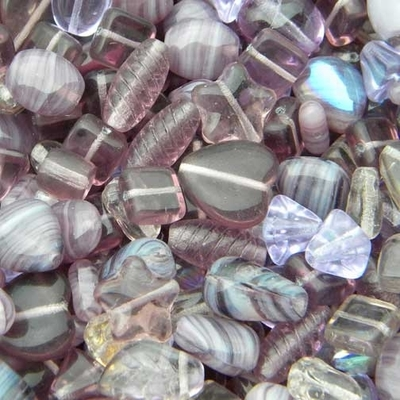 Light Purple Czech Pressed Glass Bead Mix - Assorted Sizes, Shapes and Colors