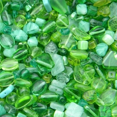 Light Green Czech Pressed Glass Bead Mix - Assorted Sizes, Shapes and Colors