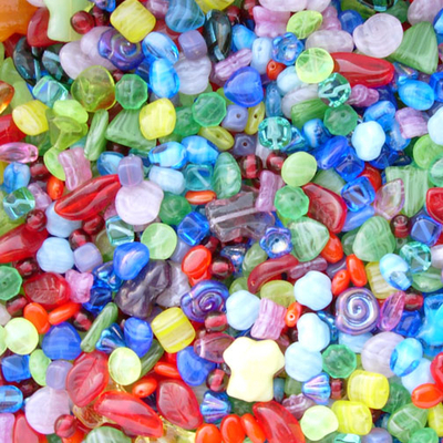 Multi-color Czech Pressed Glass Bead Mix - Assorted Sizes, Shapes and Colors