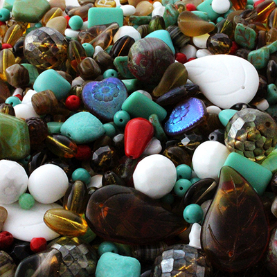 Old Southwest Czech Pressed Glass Bead Mix - Assorted Sizes, Shapes and Colors