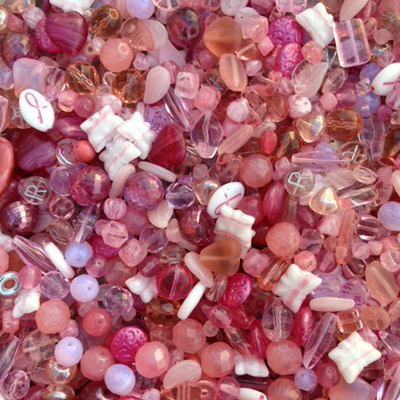 Pink Czech Pressed Glass Bead Mix - Assorted Sizes, Shapes and Colors