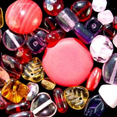 Rose Garden Czech Pressed Glass Bead Mix - Red, Pink, Purple and Brown - Assorted Sizes, Shapes and Colors