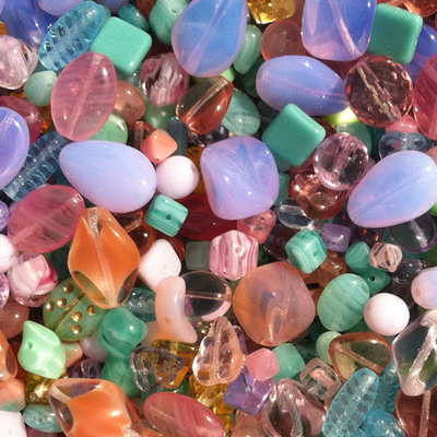 Spring Czech Pressed Glass Bead Mix - Assorted Sizes, Shapes and Pastel Colors