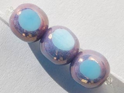 Czech Pressed Glass 7.5mm Window Cut Round Bead with 3 Faces - Sky Blue with Purple Picasso - Opaque Finish | Harlequin Beads and Jewelry