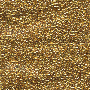 Japanese Miyuki Delica Glass Seed Bead Size 11 - 24kt Gold Plated - Metallic Finish
