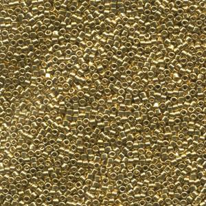 Japanese Miyuki Delica Glass Seed Bead Size 11 - 24kt  Light Gold Plated - Metallic Finish