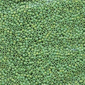 Japanese Miyuki Delica Glass Seed Bead Size 11 - Avocado Green AB - Opaque Iridescent Matte Finish | Harlequin Beads and Jewelry