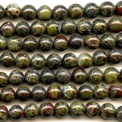 10mm Round Dragon Blood Jasper Stone Bead - Dark Green with Red | Natural Semiprecious Gemstone